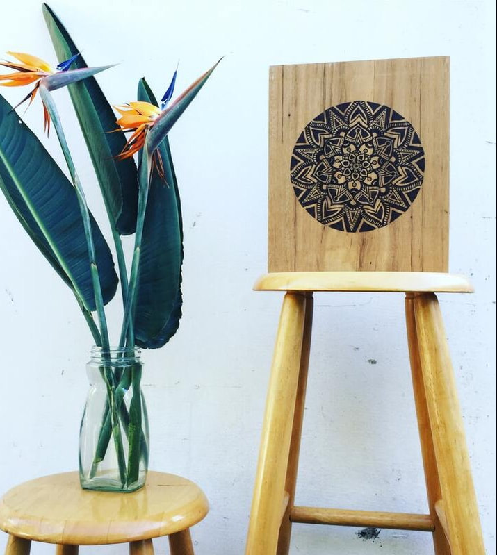 Sustainable homewares - black mandala artwork with tropical vibes