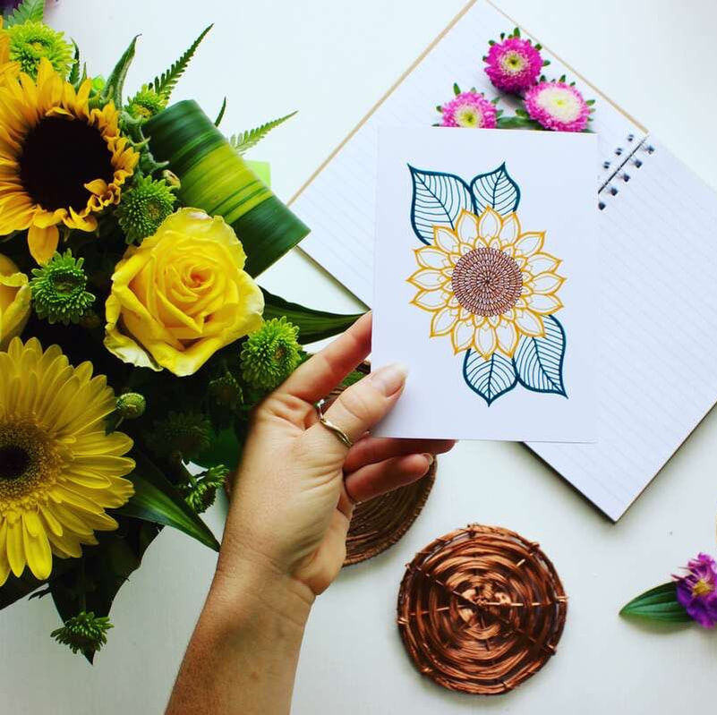 Sunflower gift cards styled with fresh sunflower blooms and pretty paper