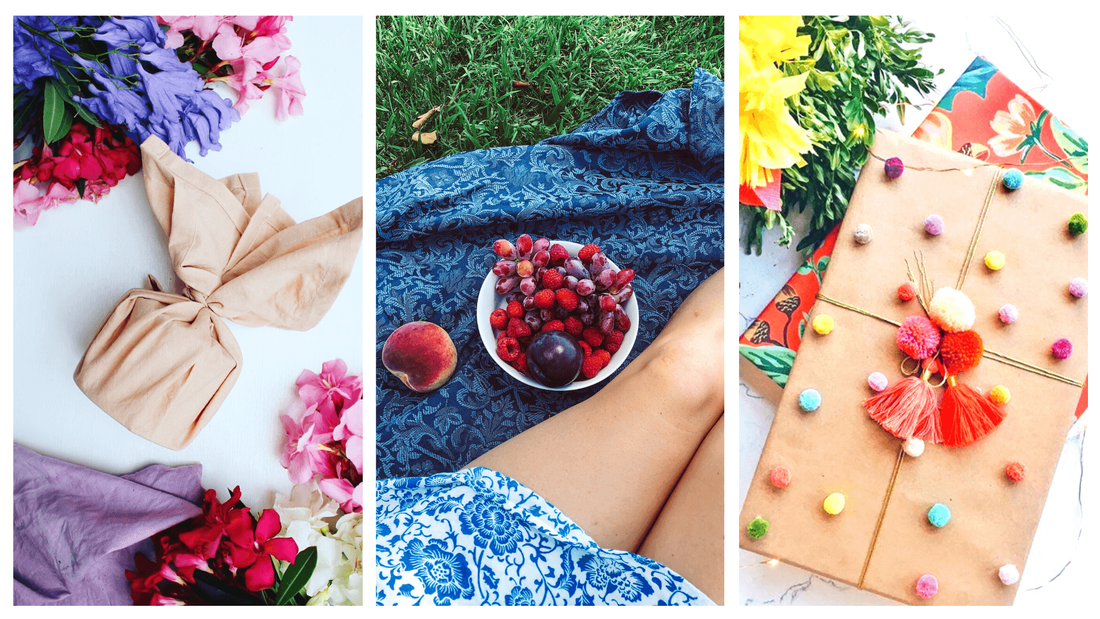 Beautiful textiles used for summer picnics and styled with colourful fruits and flowers
