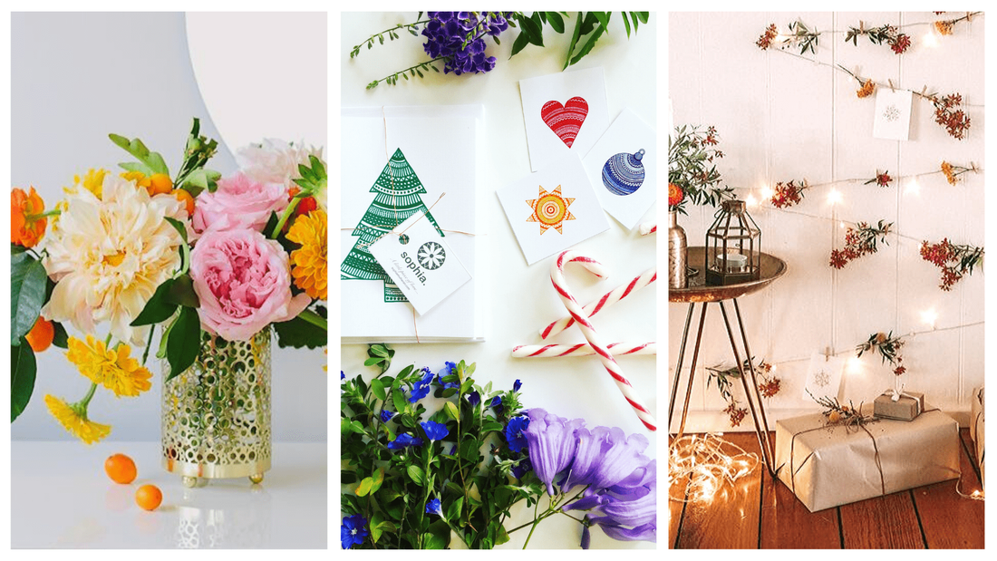 Festive flowers and sparkling fairy lights wrapped around sustainable presents