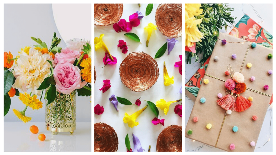 Eco-Friendly tableware - handcrafted copper bowls surrounded by colourful flowers