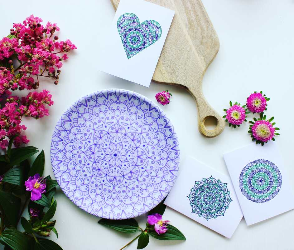 International Women's Day cards and sustainable jacaranda plate