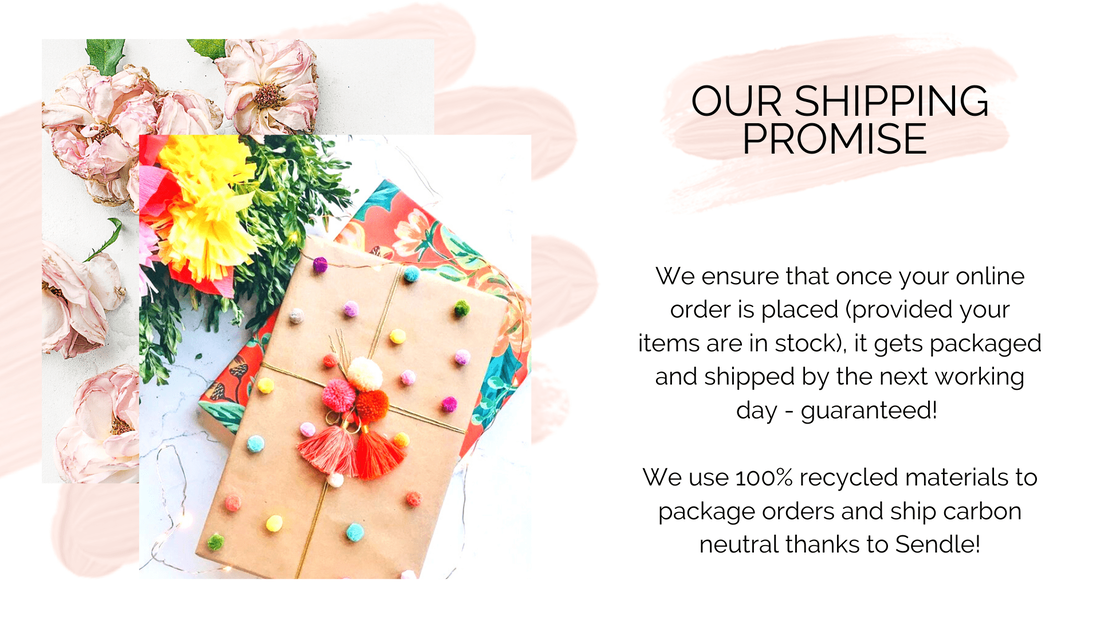 Carbon neutral shipping and 100% recycled packaging materials to help us reduce our impact on the planet