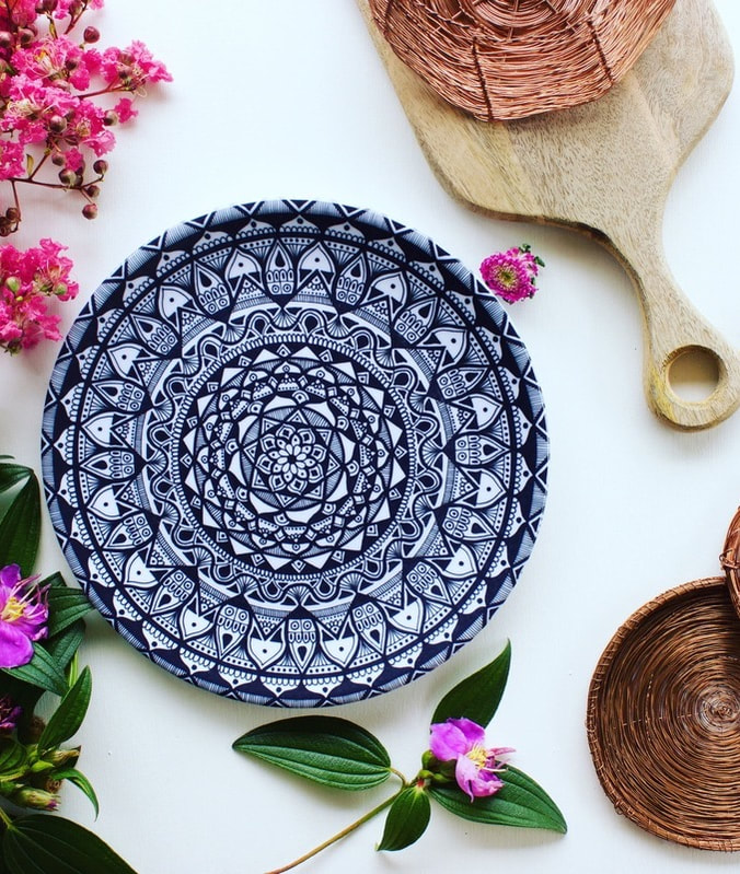 Sustainable homewares - black and white mandala plates