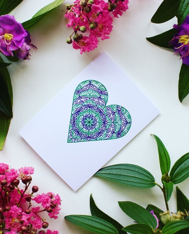 Green and purple love heart card