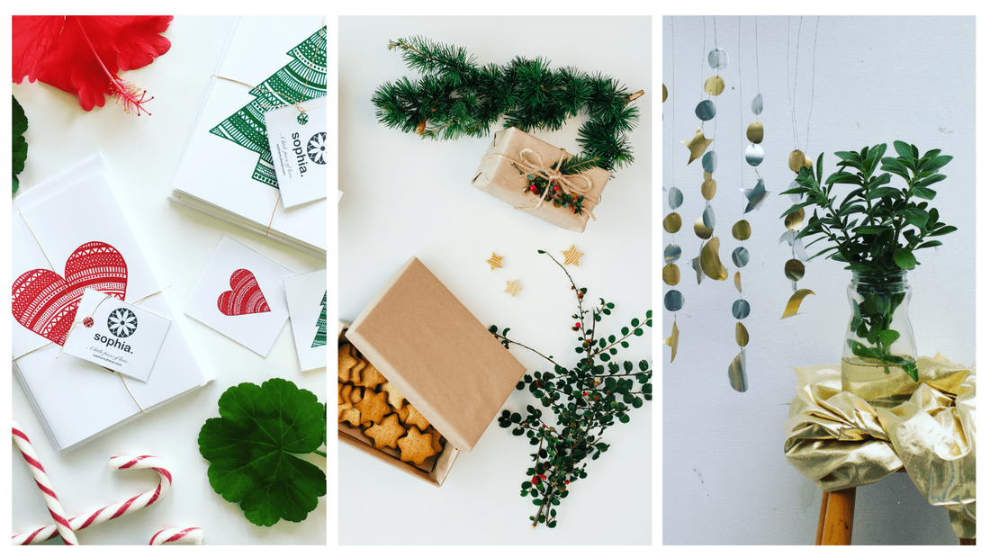 Ethical Christmas cards paired with beautiful gifts and sparkling decorations