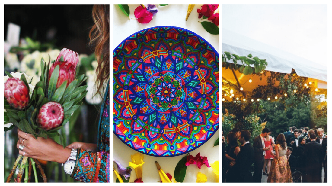 Bohemian and Moroccan inspired plates - Eco dinner plates