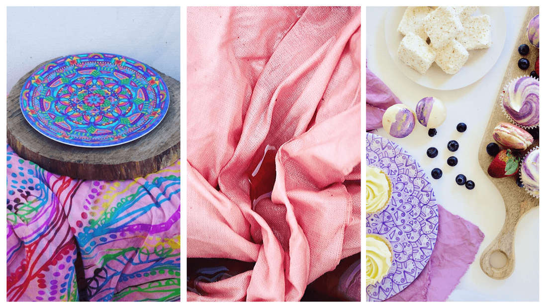 Beautiful pink and purple linen tablecloths with mandala plates and sweet treats
