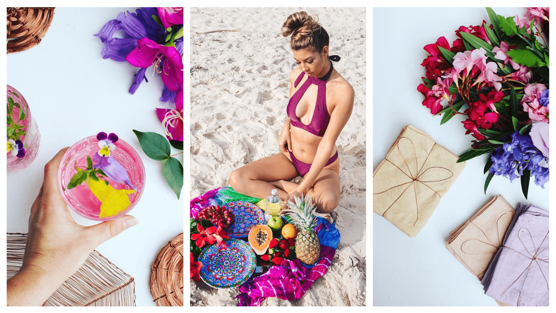 Environmentally friendly textiles paired with summer cocktails. beach picnics and fresh flowers